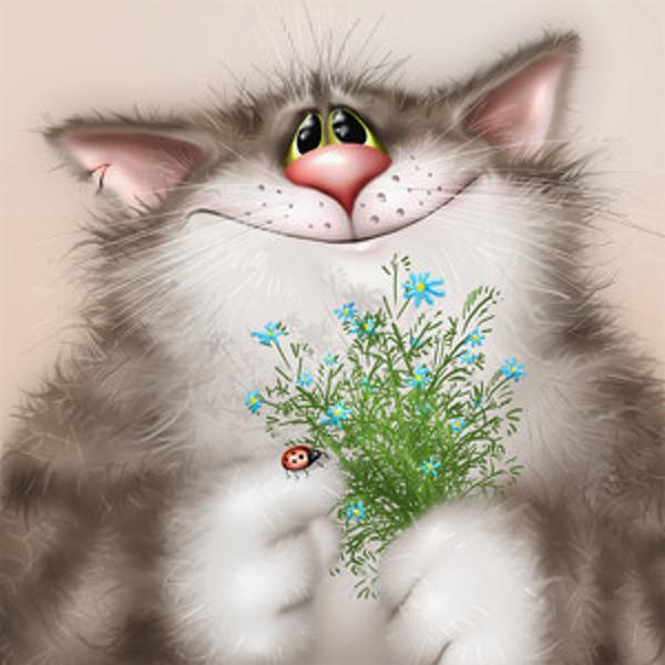 Спасибо, открытки с кошками прикольные с днем рождения